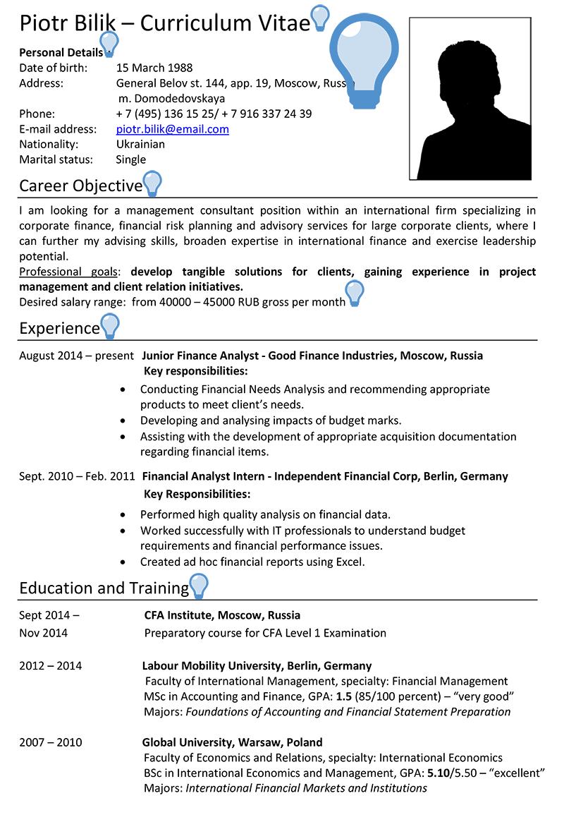 Russia Cv Sample Careerprofessor Works