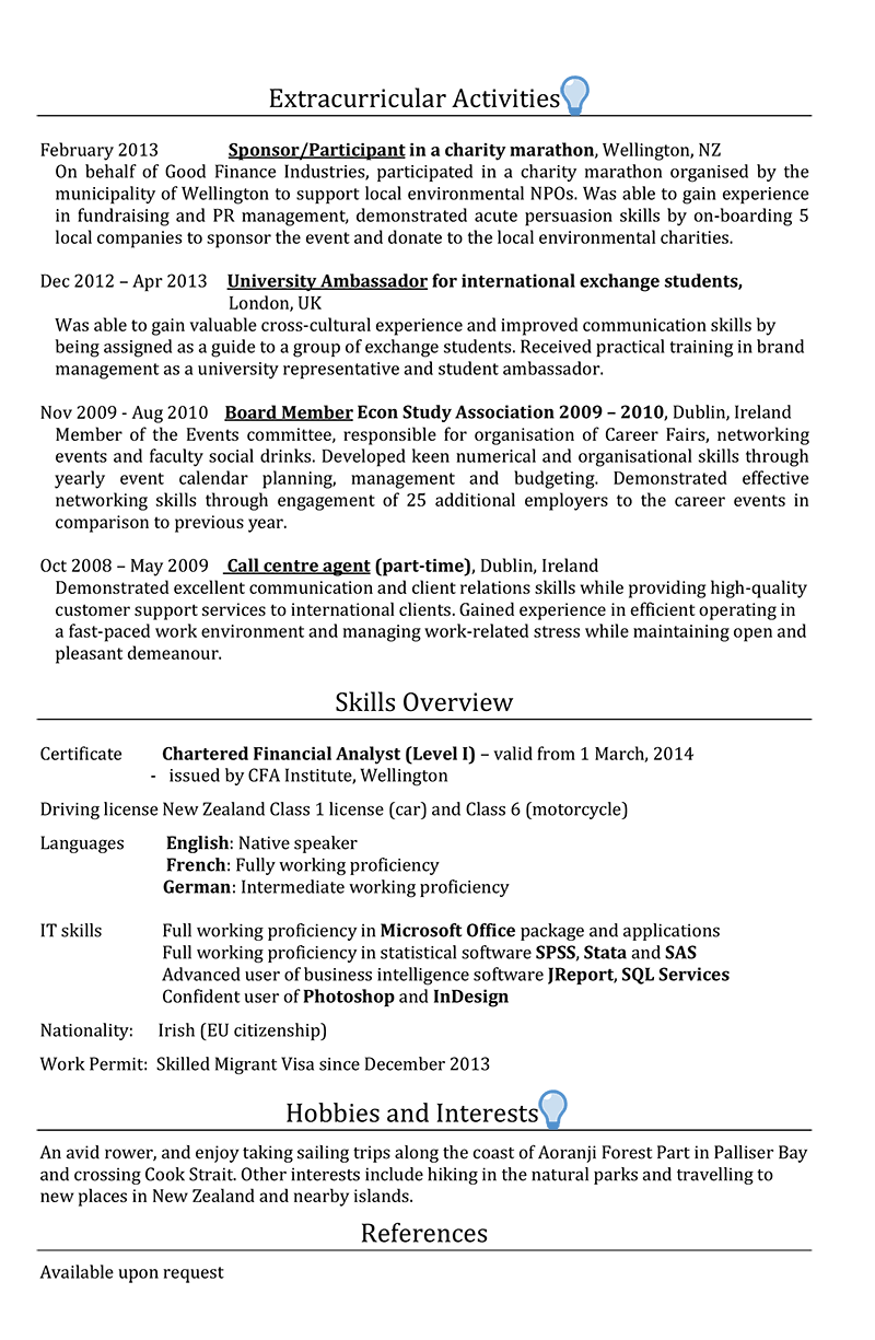 new zealand cv sample page 2