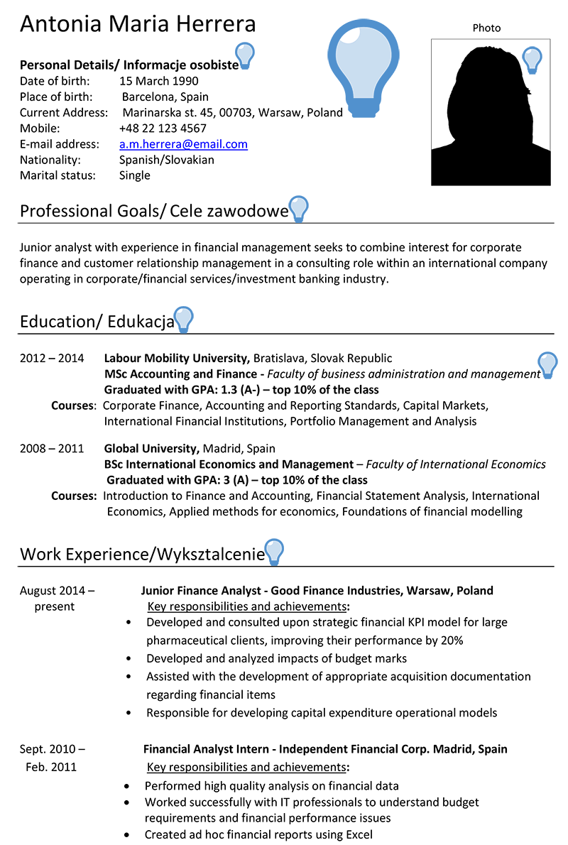 Poland CV Sample | CareerProfessor.works