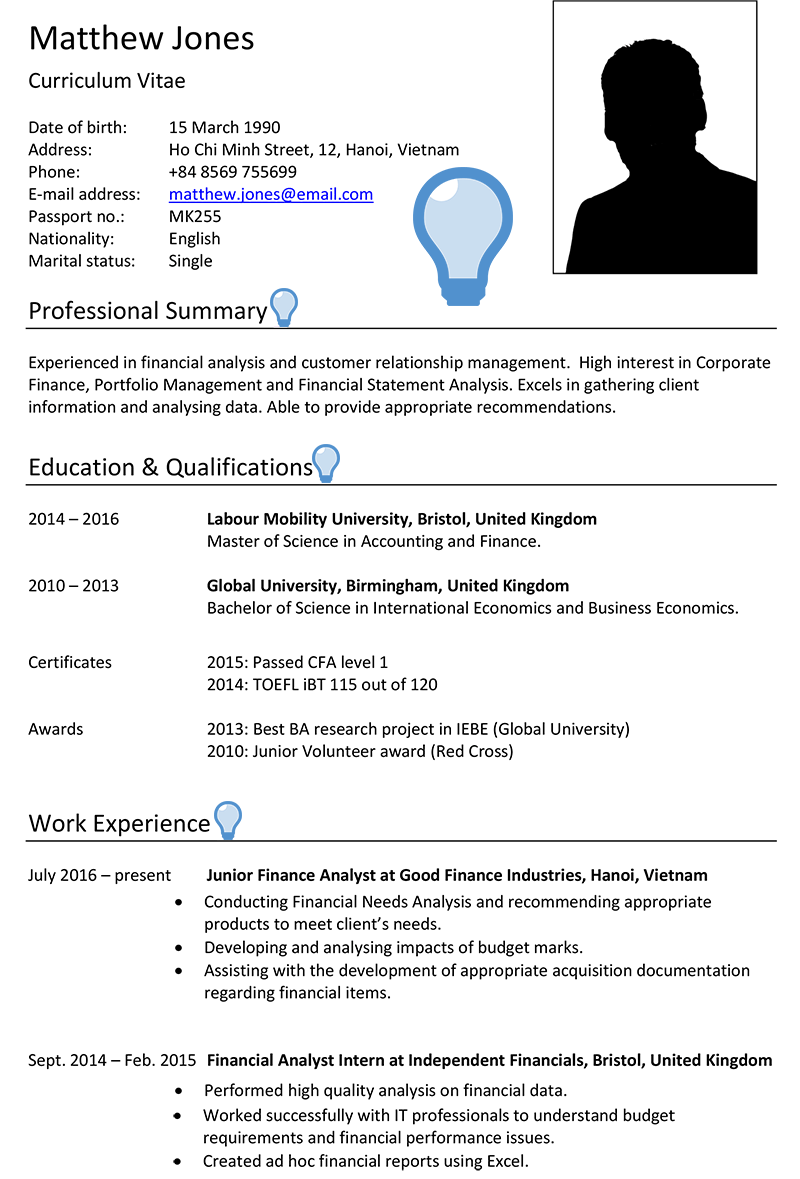 Vietnam CV Sample - CareerProfessor works